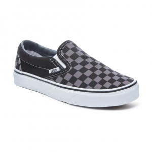 vans slip on cuadros black pewter