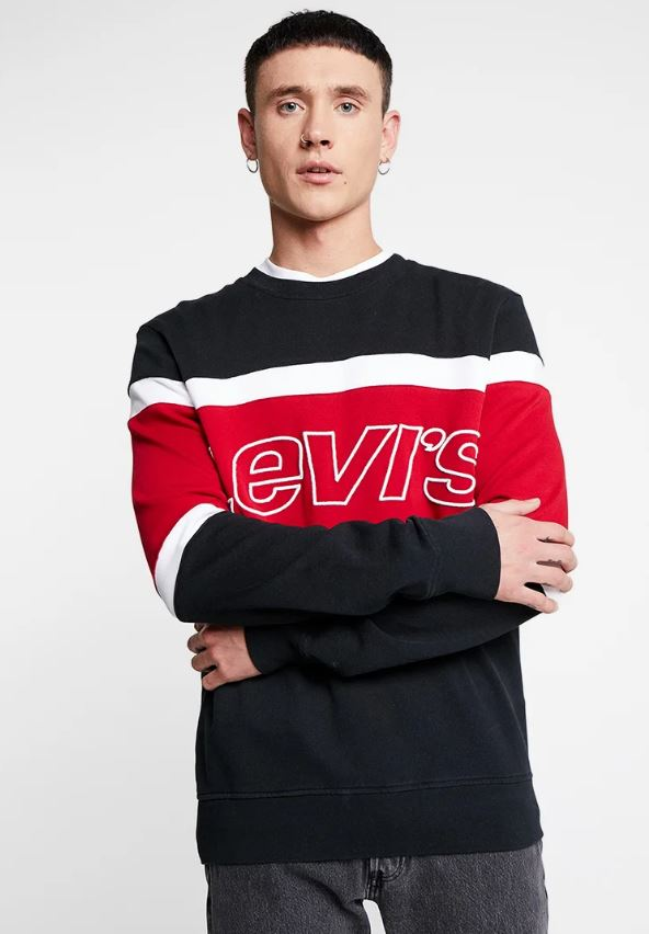 sudadera levis pierce crew balck red